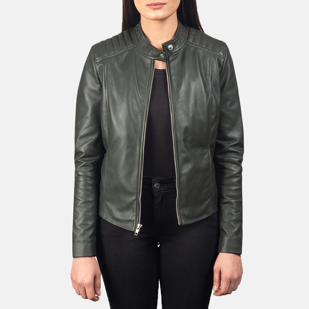 Kelsee-Green-Leather-Biker-Jacket-For-Women