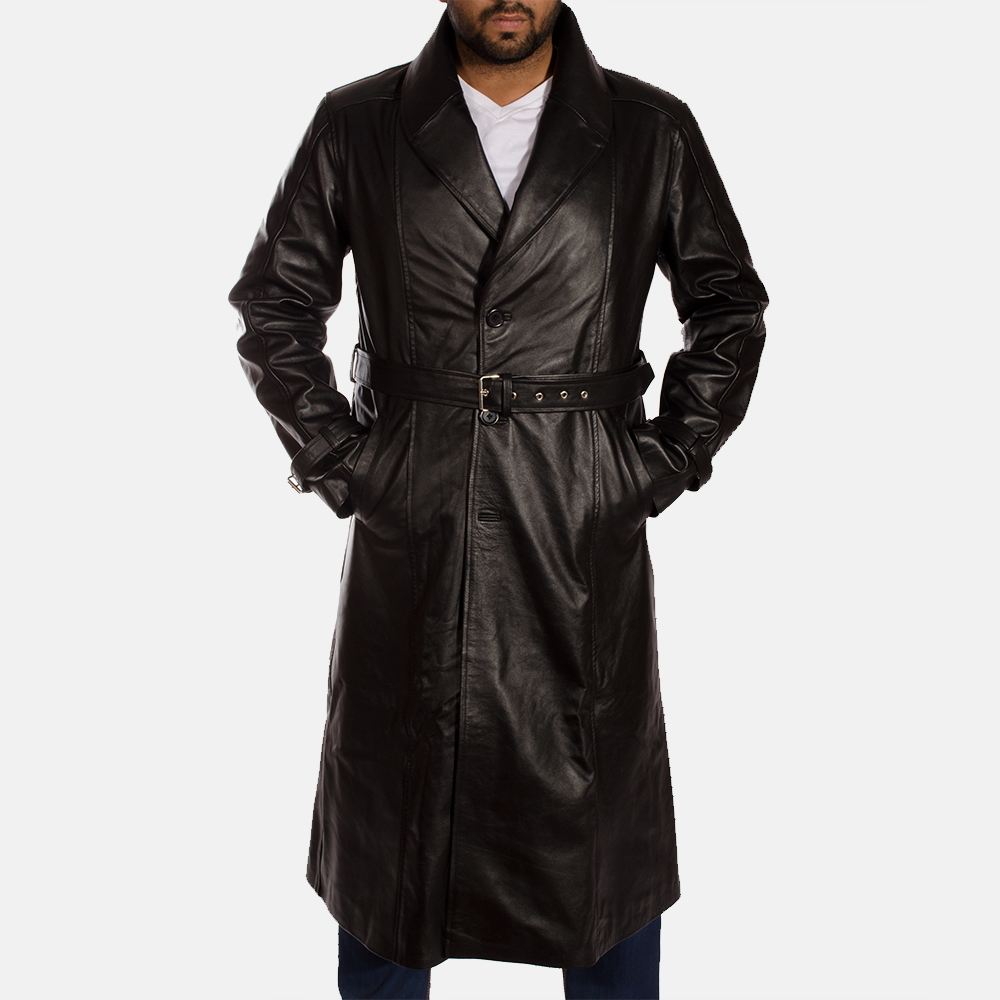 Hooligan Black Leather Trench Coat for Men