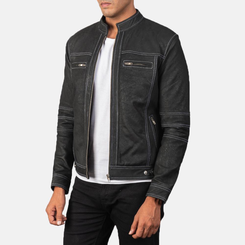 Goatskin black leather jacket