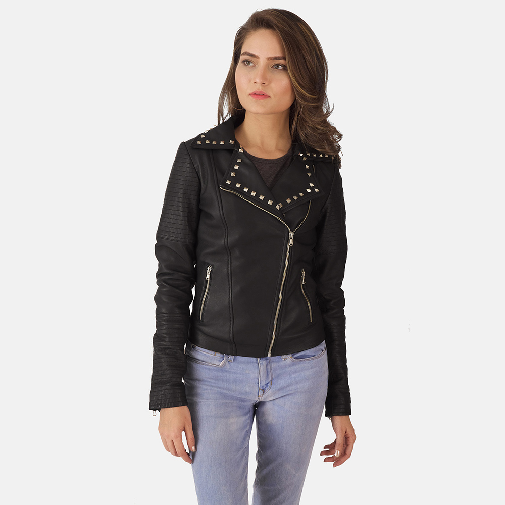 Studded Black Biker Jacket for Women
