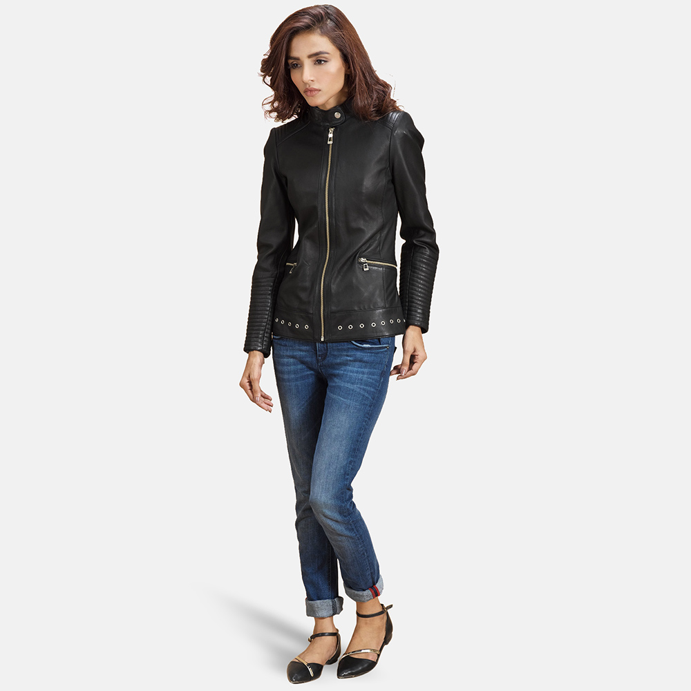 Womens-Haley-Ray-Black-Leather-Biker-Jacket
