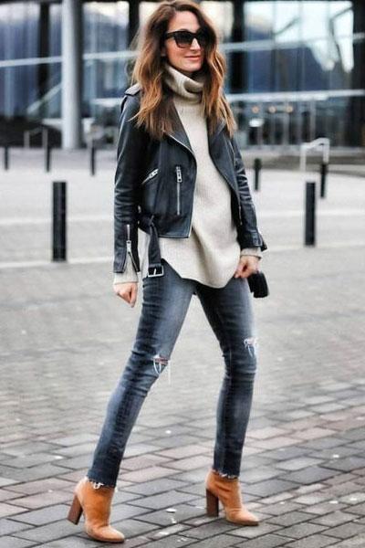 Grey Turtleneck with leather jacket