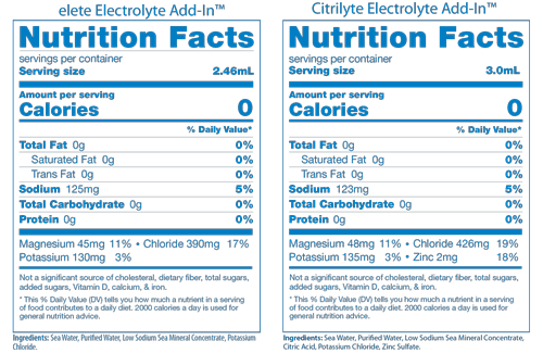 elete Electrolyte and CitriLyte Facts Panels