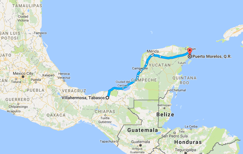Villahermosa to Puerto Morelos – 5th and final day of our road trip