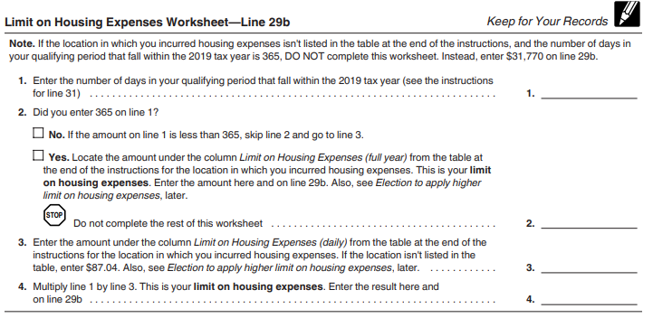 Limit on Housing expenses worksheet