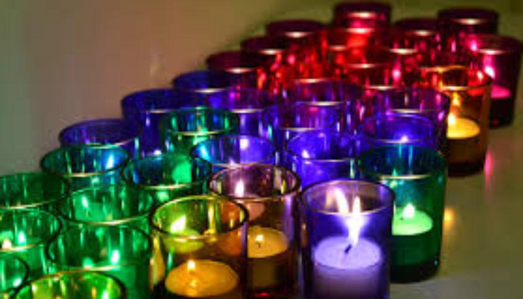 Rainbow Glass Candles