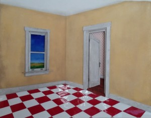 "Yellow Corner with Red & White Checkerboard Floor 27"" X 21"" X 1 3/4"""