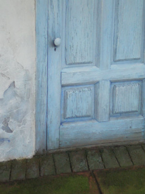 Blue Door with Papered Window