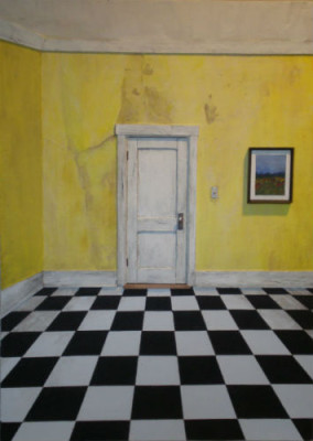 "Yellow Corner with Checkerboard Floor 16"" x 22 1/4"" x 1 3/4"""