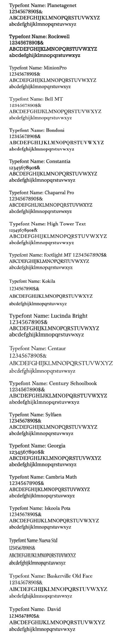 more Serif Typestyles for brands