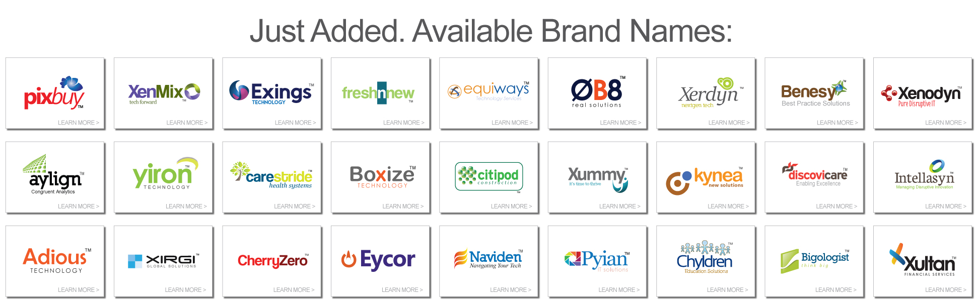 just added available brand names