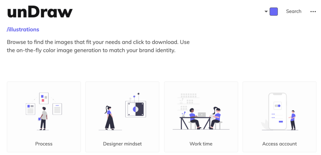 Screenshot of a page on the unDraw website, one of the places where you can get free stock images, photos, illustrations and more