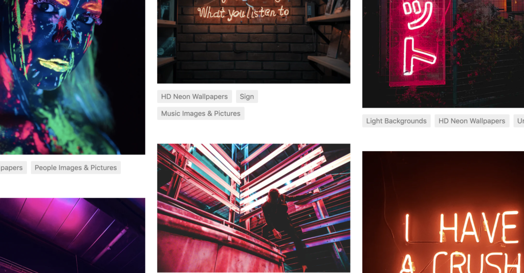 Screenshot of several neon themed stock images for the blog post about where to get free stock images, photos and more design assets