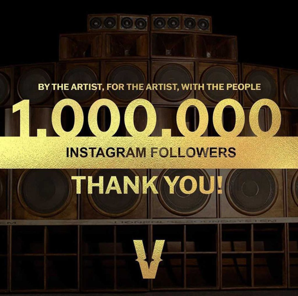 graphic saying thank you for 1 million instagram followers from Verzuz account