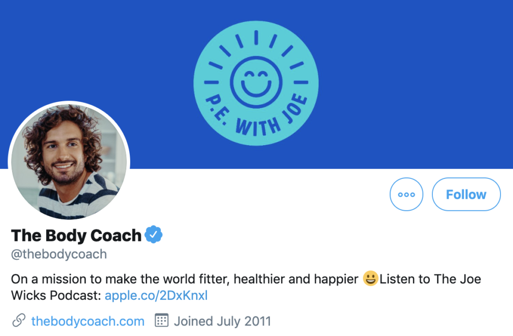 Screenshot of The Body Coach's Twitter account, a brand marketing case study for social media success