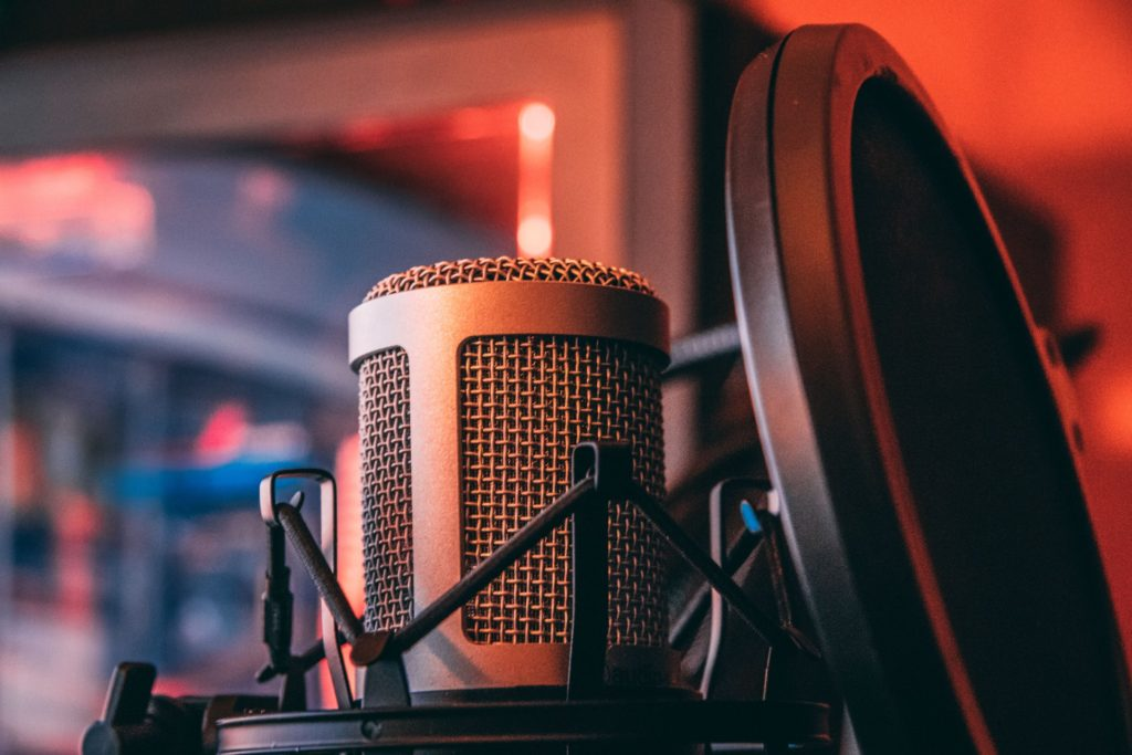 Stop making boring B2B marketing content: image of a microphone and podcast recording setup