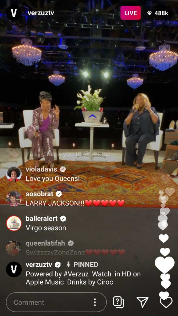screenshot of Instagram live stream of a Verzuz live battles between Gladys Knight and Patti LaBelle