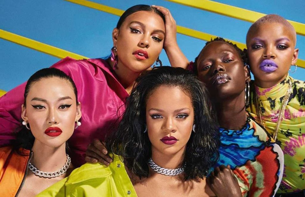 Inclusive Marketing and Brand Authenticity Lessons from Rihanna; promotional image of Rihanna and 4 other models, women of color, for Fenty Beauty ad marketing campaign