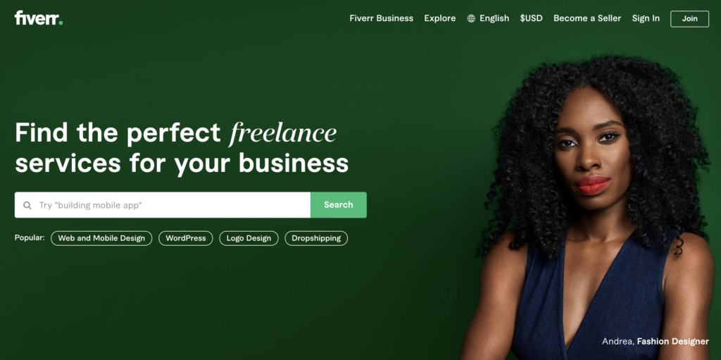 "screenshot of fiverr home page with. headline ""find the perfect freelance services. for your business"" and a black woman's face next to that headline, depicting the way fiverr has successfully used niche marketing focus to drive growth"