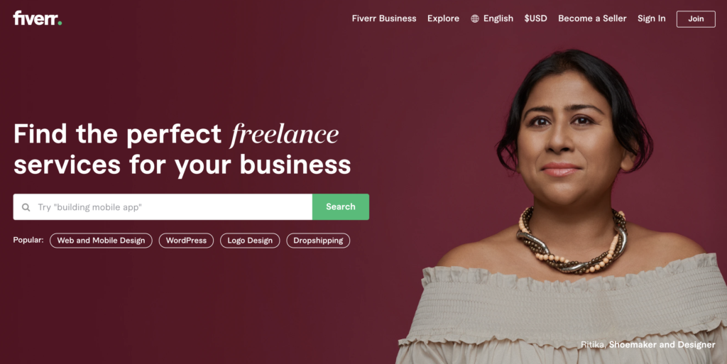 "screenshot of fiverr home page with. headline ""find the perfect freelance services. for your business"" and a woman's face next to that headline, showing how niche marketing strategy fueled fiverr growth"