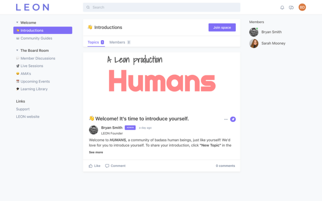 Screenshot of the LEON Humans community home page