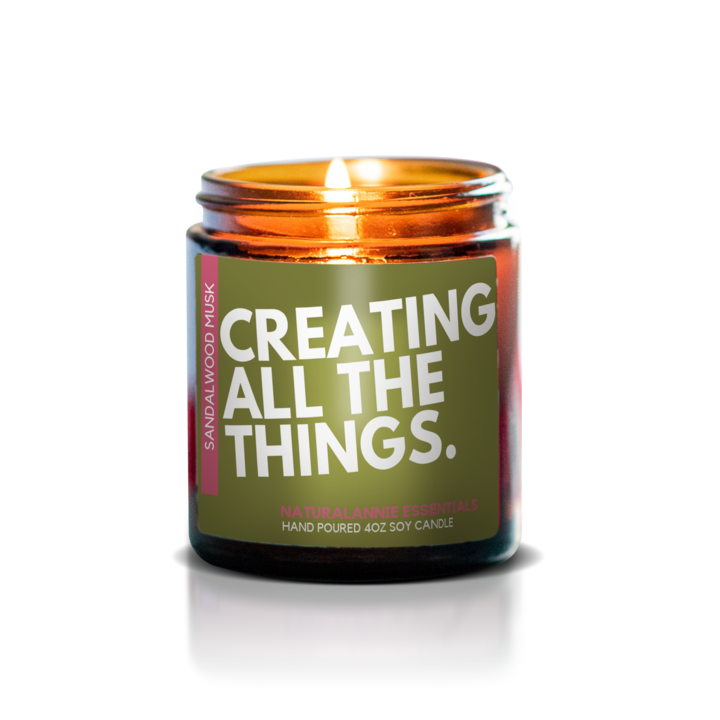 Soy candle that says creating all the things - perfect gift for content creators, marketers and copywriters working from home to brighten the office