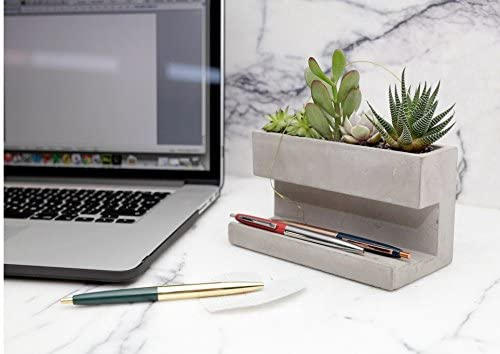 concrete desktop planter with succulents in it on a desk next to a laptop with pens resting on it - a perfect addition to a gift guide for marketers and copywriters, or any business professional