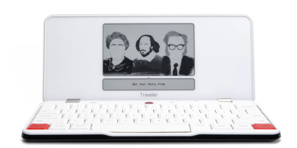freewrite traveler device that looks like a laptop with a screen that has a smaller height and nothing on it but a greyscale image of shakespeare and 2 other famous writers and a line to write text. perfect gift for writers, content creators, marketers and copywriters who want a distraction-free writing experience