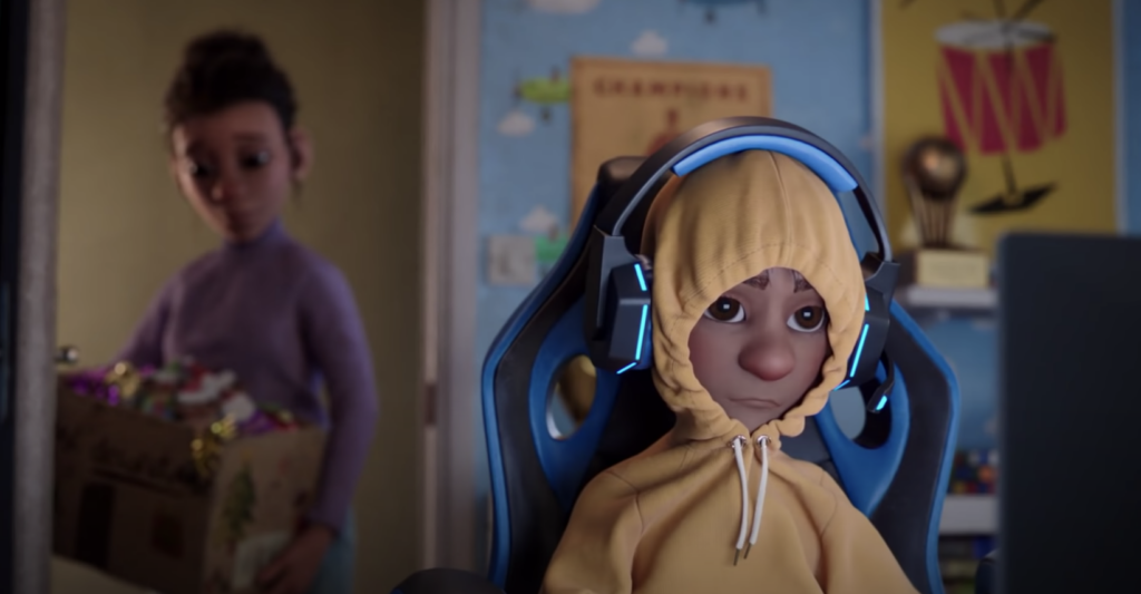 A young boy in a hoodie with a video gaming headset on looking meh as his mom stands in his bedroom door with a disappointed look on her face carrying a box of Christmas decorations; from the McDonalds UK holiday marketing ad