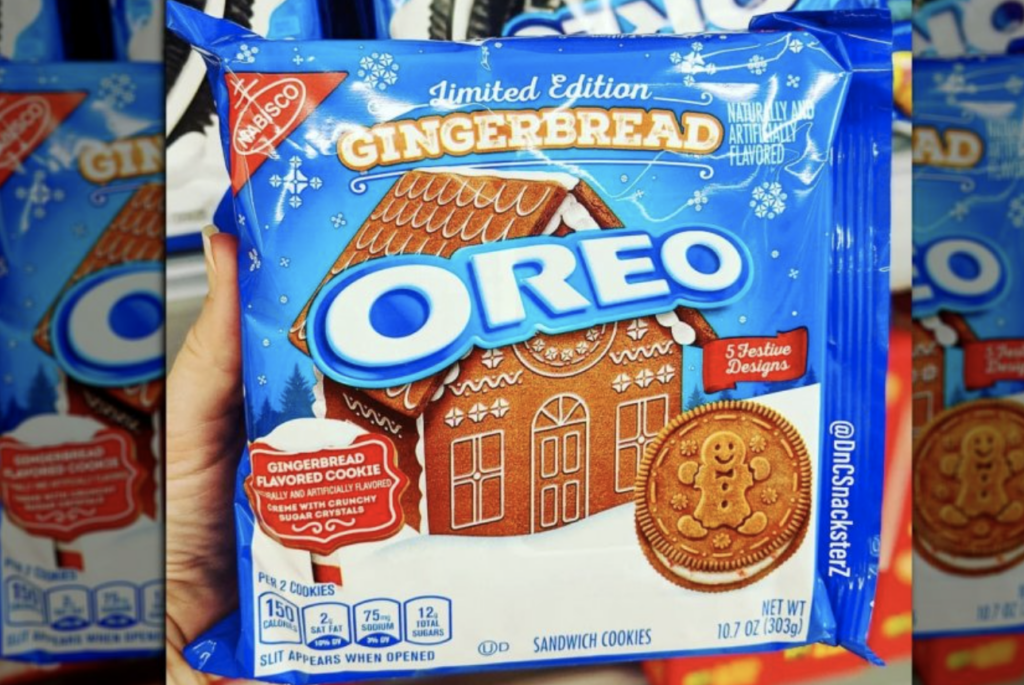 package of gingerbread OREO cookies as part of the brand's holiday marketing campaign 2020