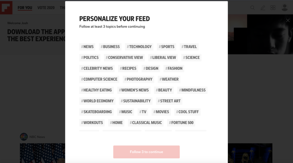 screenshot of a step in the Flipboard onboarding process - a prompt asking you for selections of topics you're interested in to personalize your feed