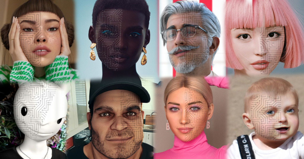 8 headshots of various virtual influencers