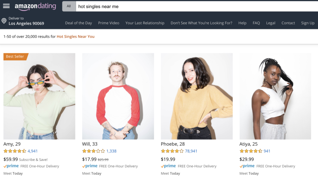 screenshot of the amazon dating website which is a parody of dating apps in a creative marketing platform