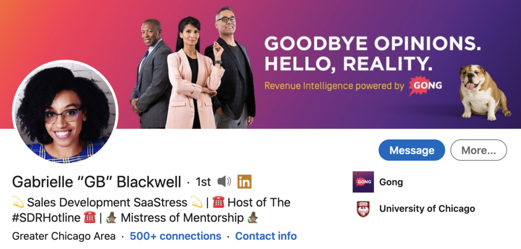 screenshot of LinkedIn profile banner for Gabrielle Blackwell, a sales development rep for Gong. the company has a successful employee advocacy program on linkedin
