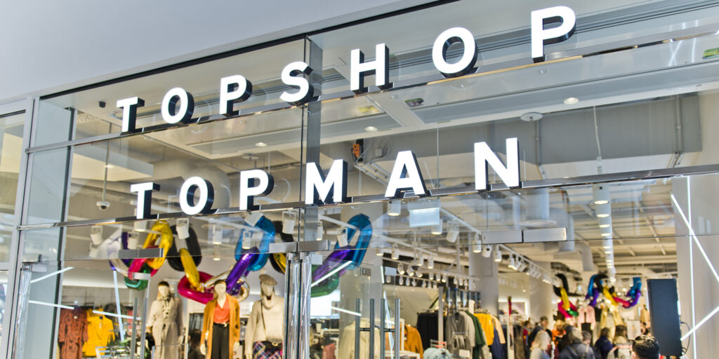 Image of exterior of Topshop store, the latest brand to face financial woes because of lack of gen-z and millennial marketing strategy