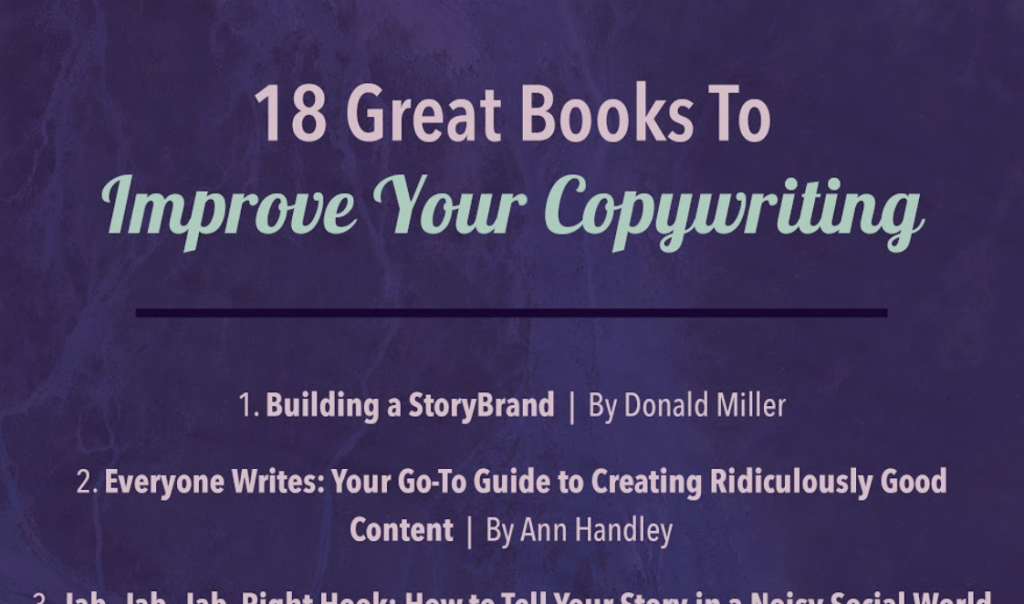 "preview of infographic titled ""18 great books to improve your copywriting"""
