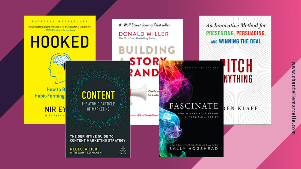 covers of 5 of the best marketing books: hooked, content - the atomic particle of marketing, fascinate, building a story brand, and pitch anything