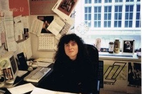 Entertainment and music marketing executive Kim Kaiman sitting at her desk in her office. Kim worked for a variety of music labels, such as Atlantic Records and Jive Records, to help with development of Britney Spears' brand and marketing strategy.