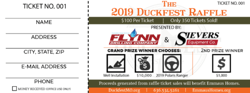 2019 Duckfest Raffle Ticket