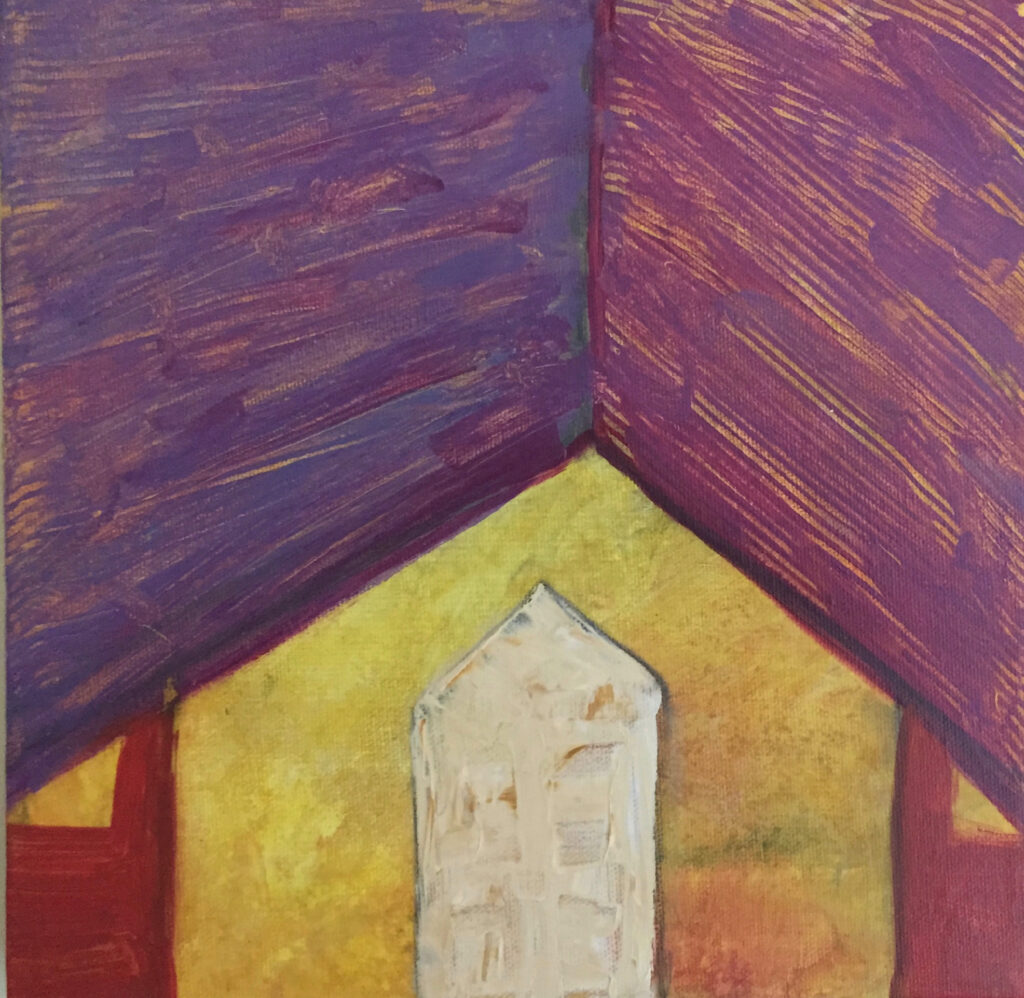 Bird House, 10x10, acrylic on canvas, $99