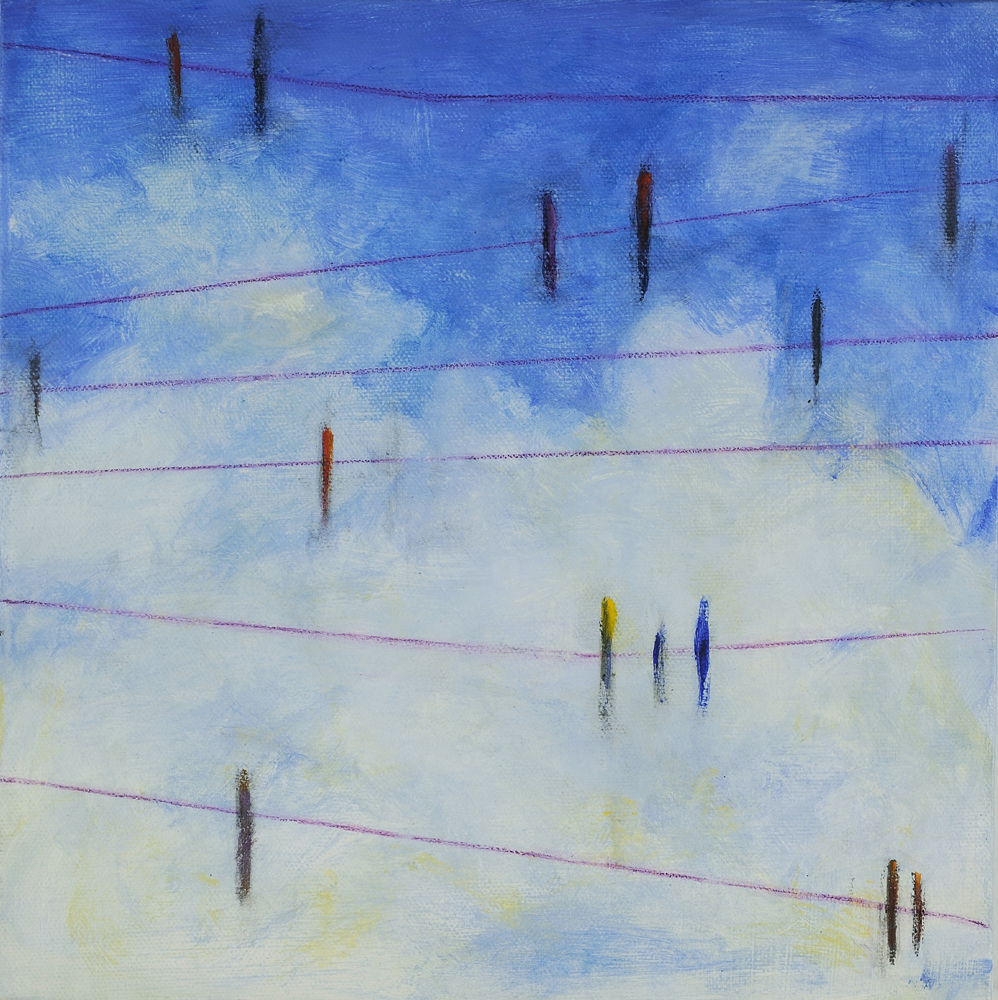Birds on a Line at Noon, 20x20, acrylic on canvas, $325