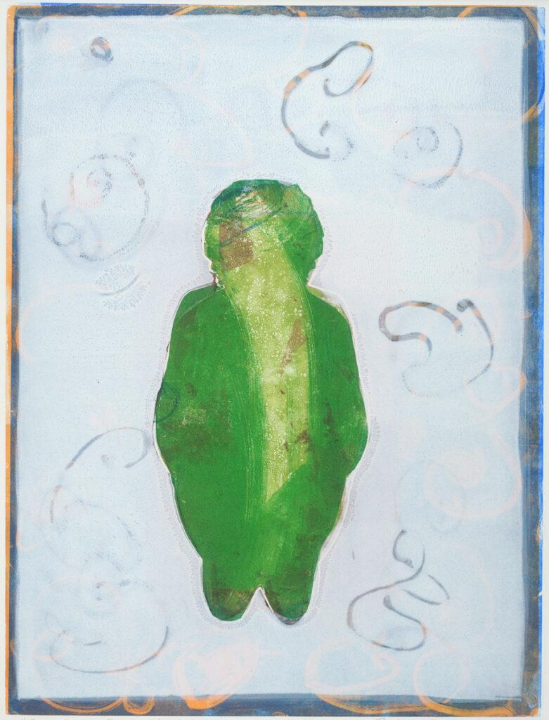 Emerging Goddess, framed 28x20 monotype on paper, $145