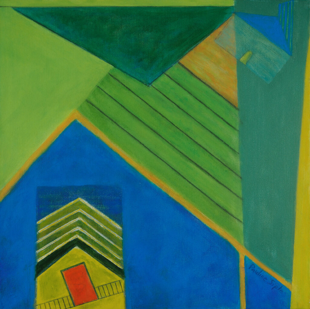House on a Hill, 27x20, acrylic on canvas, $450
