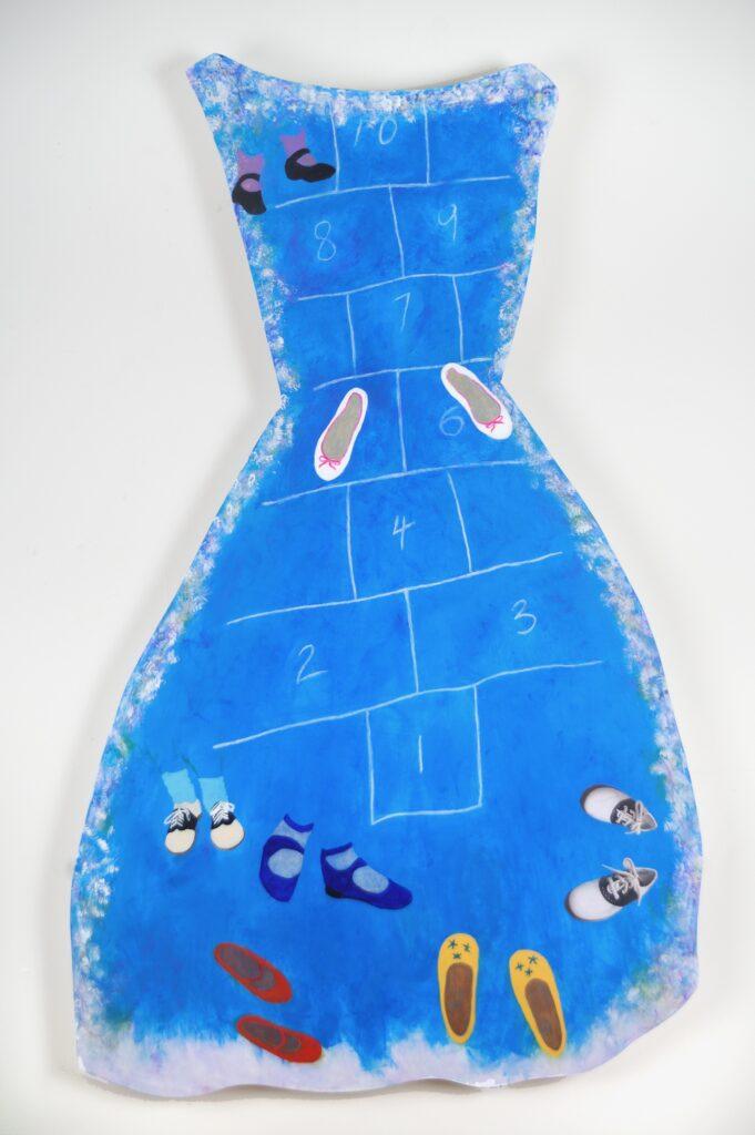 Hopscotch (dress), 60 x 21, acrylic on board, $475
