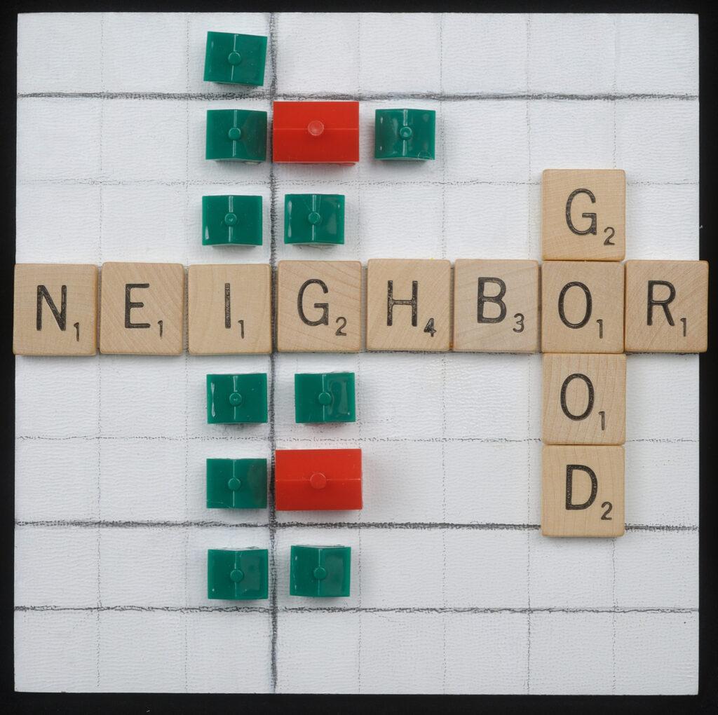 Neighbor Good, 6x6, acrylic, Scrabble, Monopoly pieces under resin. $45