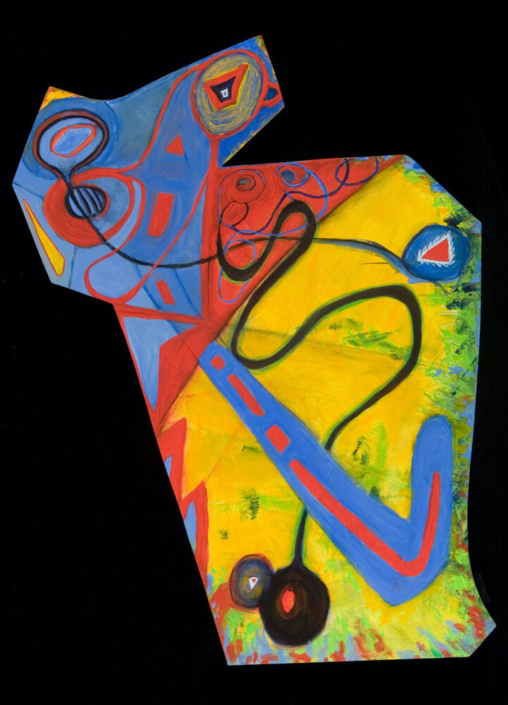 Moose, 38x24, acrylic on shaped board, $300