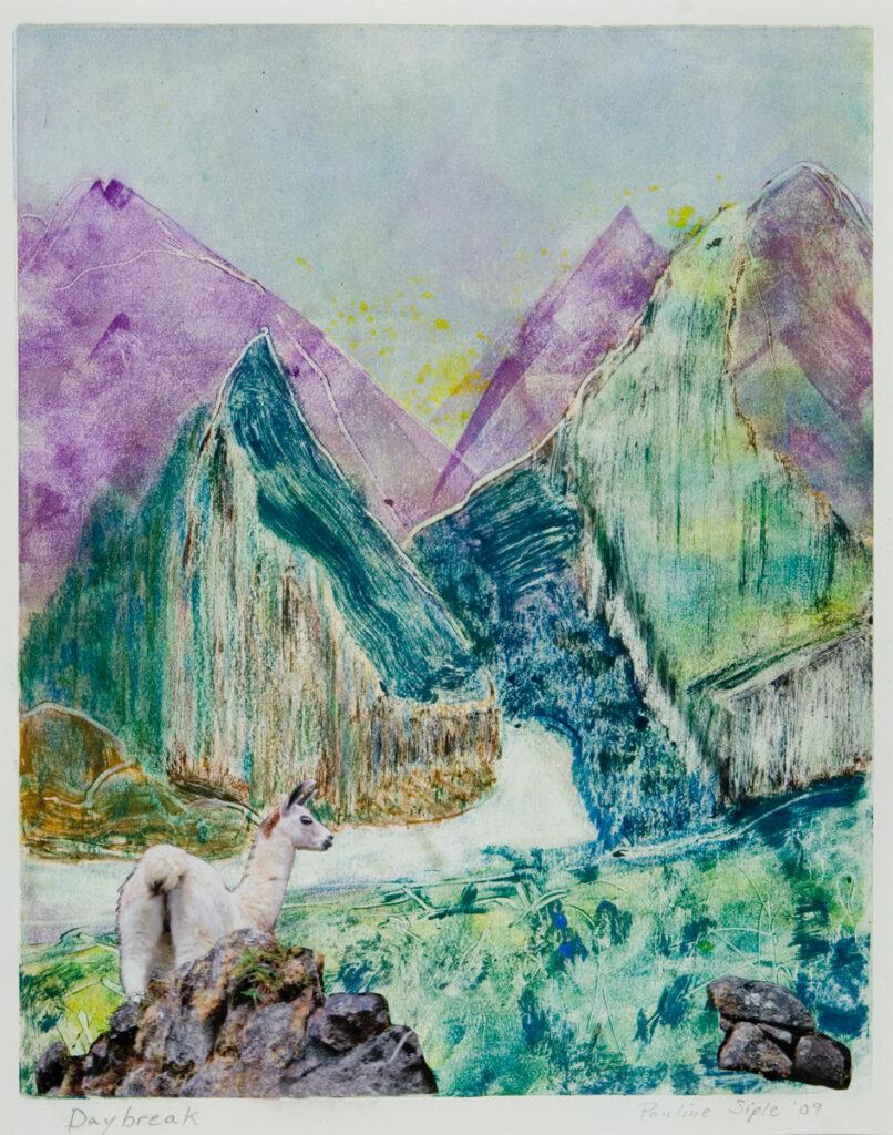 Llama at Daybreak, 12x9, matted 18x21 monotype, $125