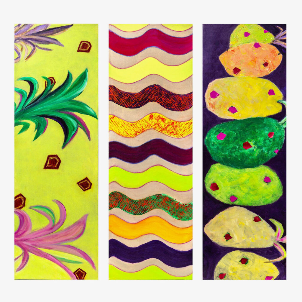 Tropicana, Triptych, 30x30, acrylic on canvas, $485
