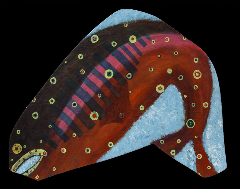 Trout, acrylic on shaped board,$210