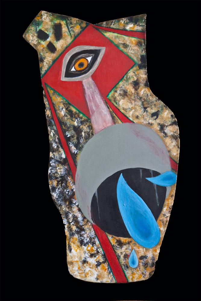 Wolf, 31x15, acrylic on shaped board, $245
